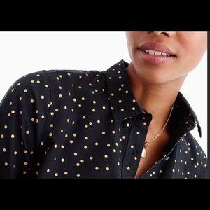 JCrew Gold Dot Perfect Shirt